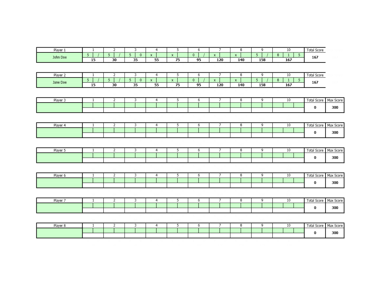 how to make a score sheet in excel