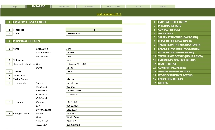 Employee Database Management Template  Contact Details Template