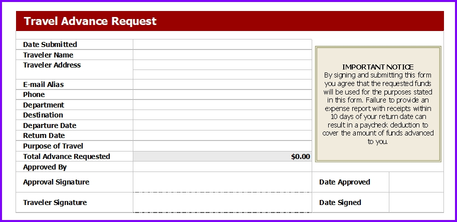 Business Travel Request Form | Excel Templates | Excel