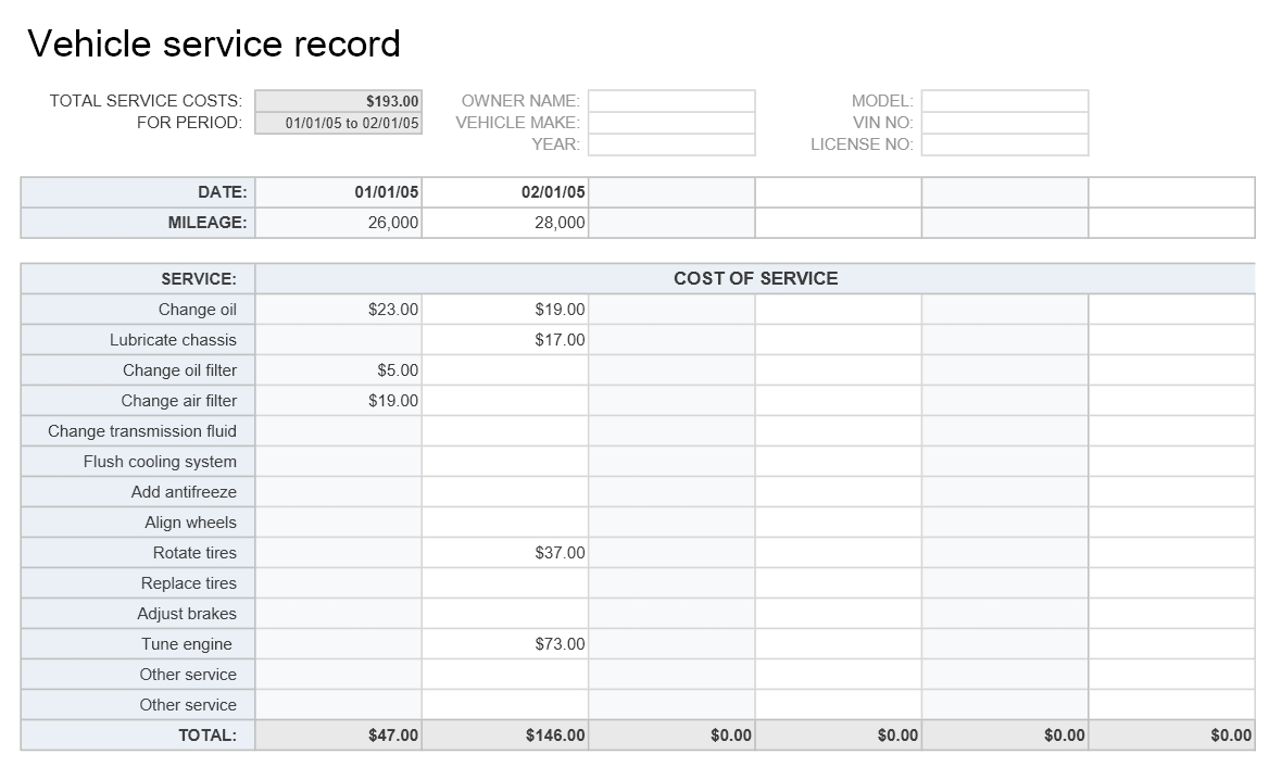 Vehicle Service Record Template | Excel Templates | Excel ...