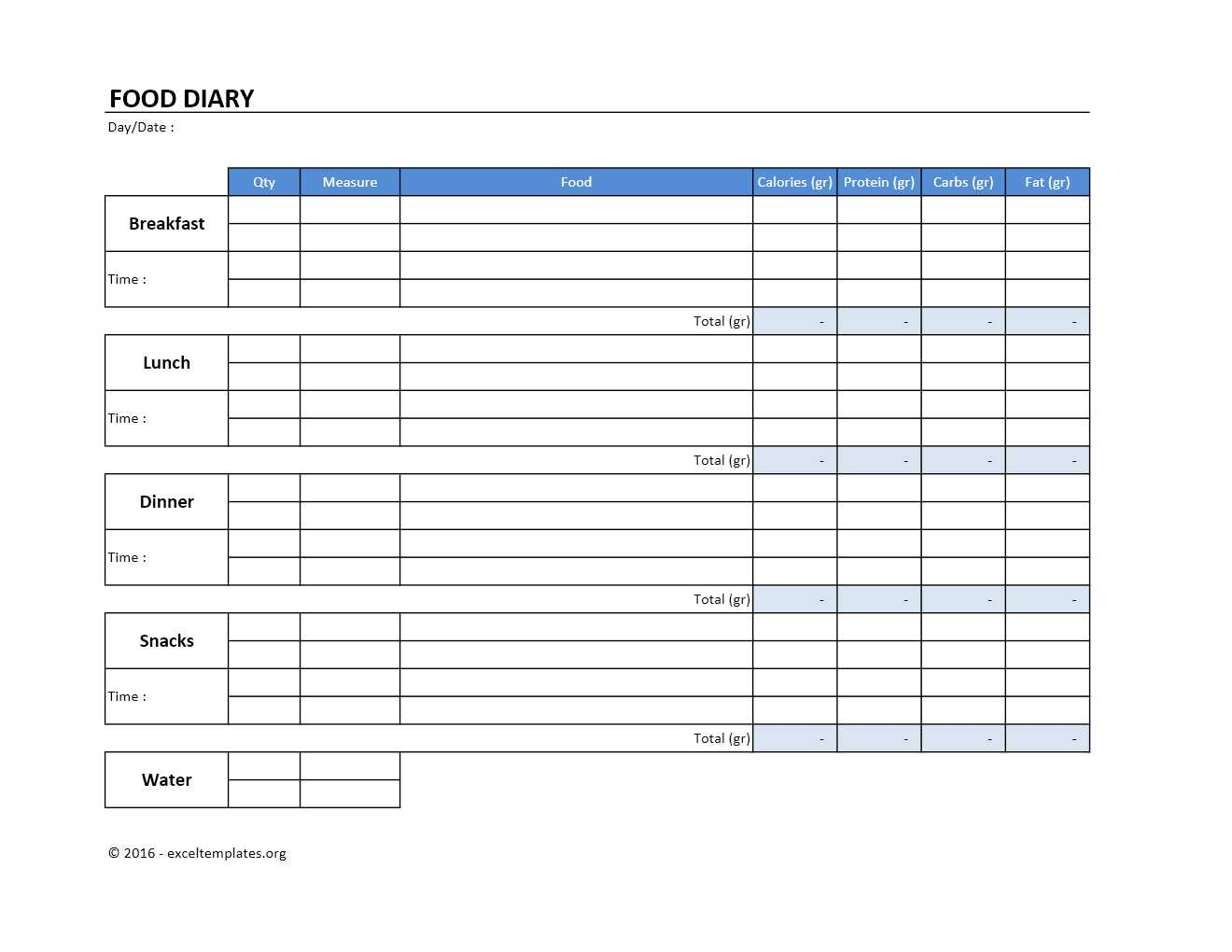 food diary template excel templates excel spreadsheets