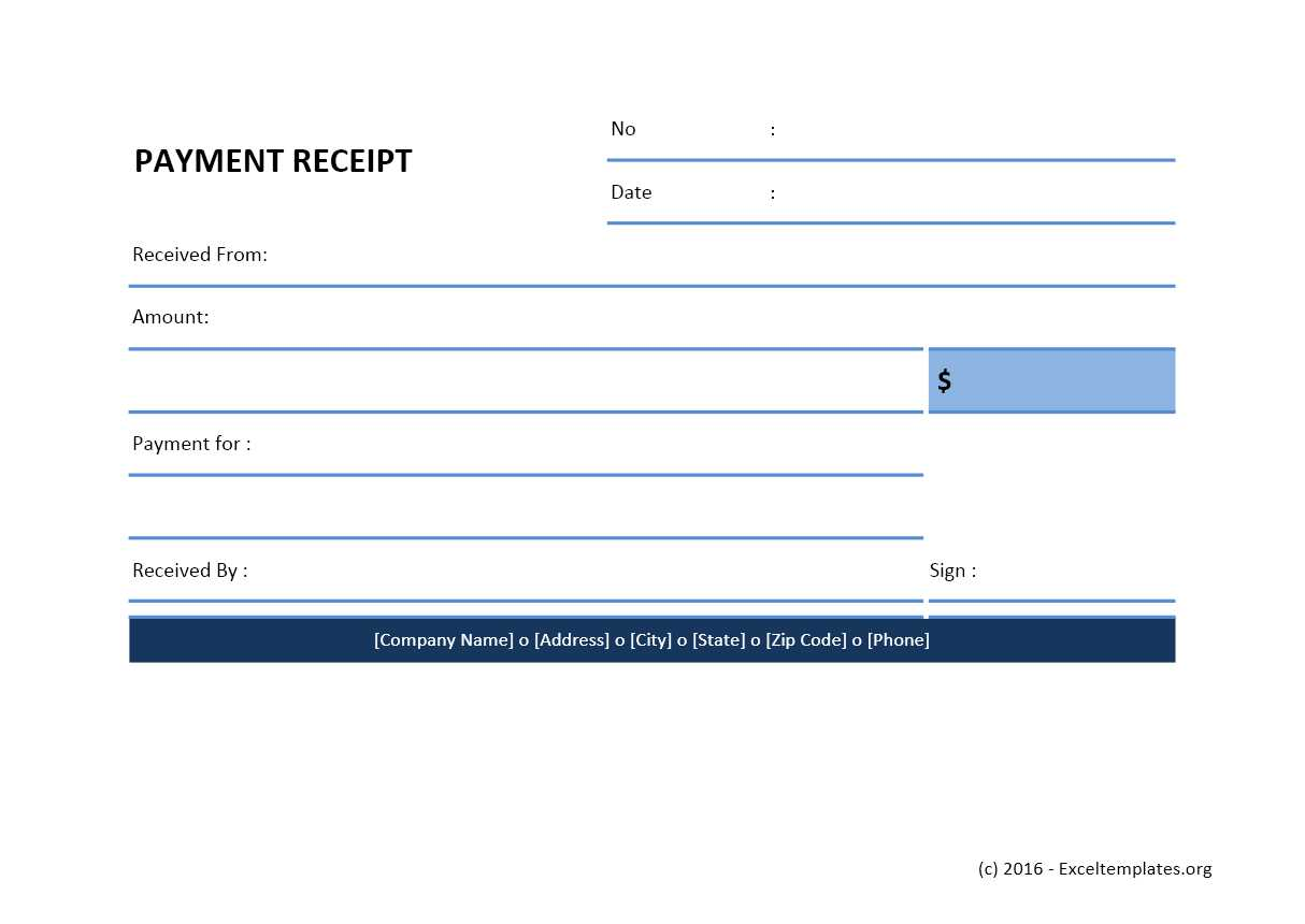 Payment receipt template excel templates excel for Receipts for payments template