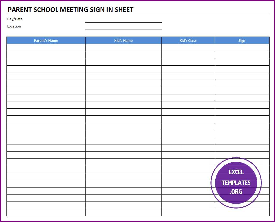 Parent School Meeting Sign In Sheet  Excel Sign In Sheet Template