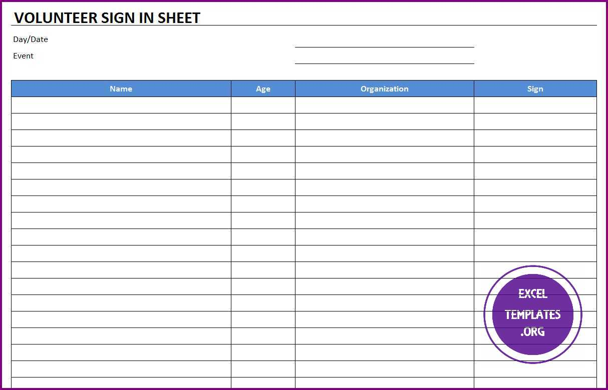 Volunteer Sign In Sheet Template Zrom