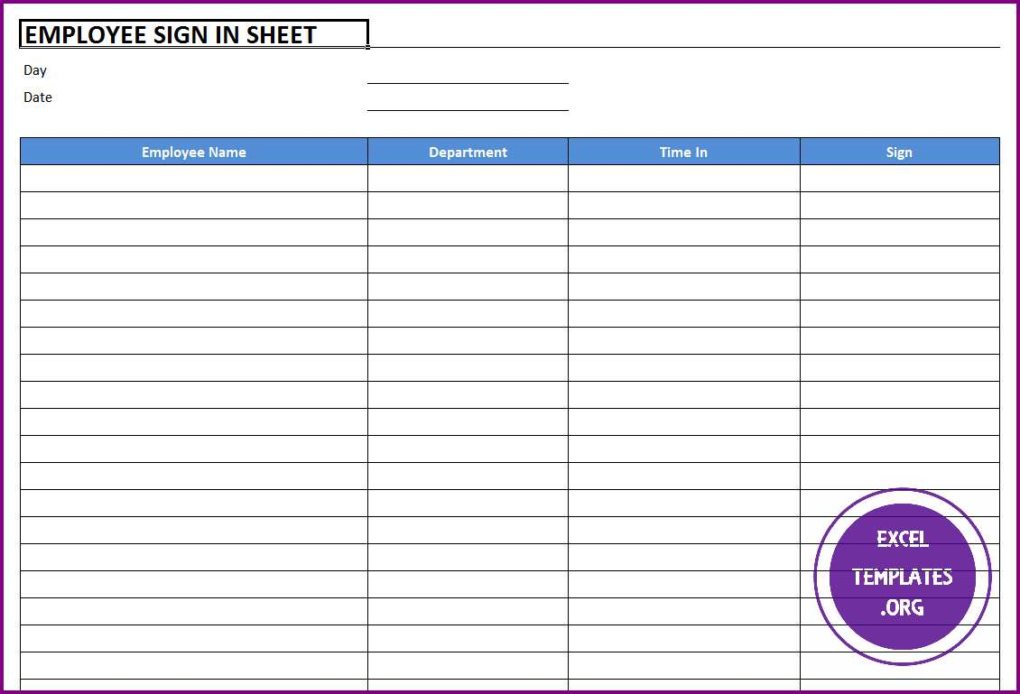 employee sign in sheet template excel templates excel
