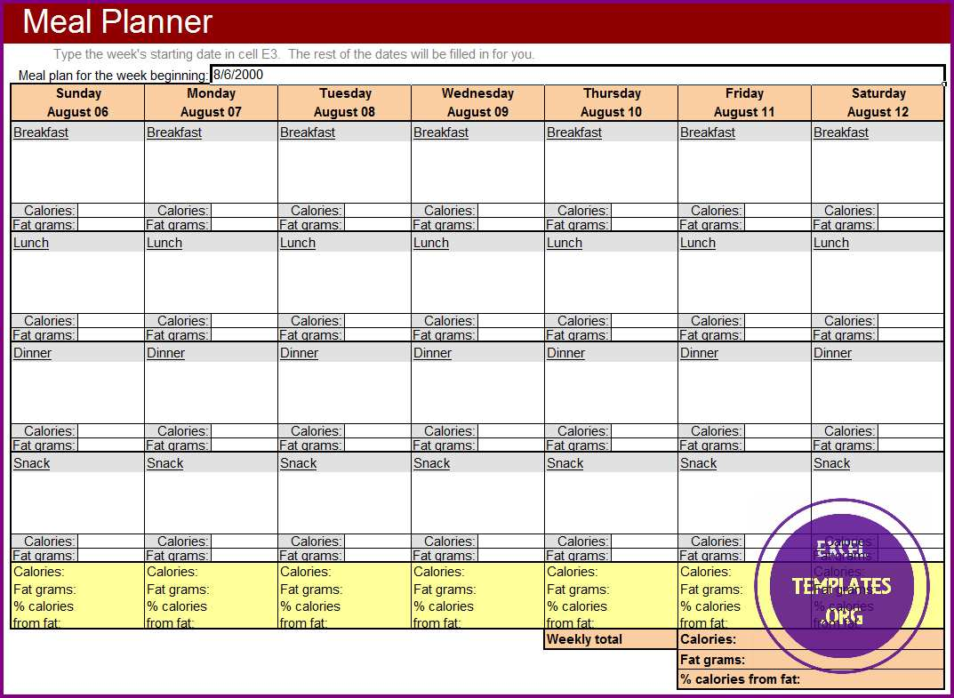 meal planner template excel templates excel