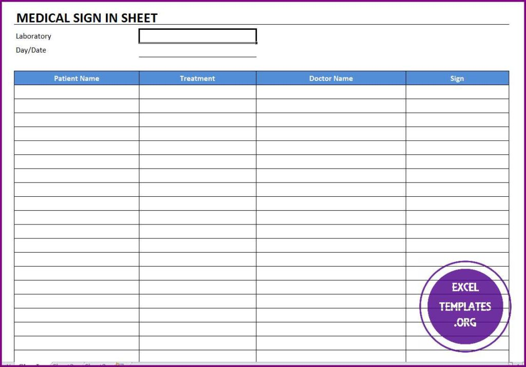 Medical sign in template excel templates excel for Medical office sign in sheet template