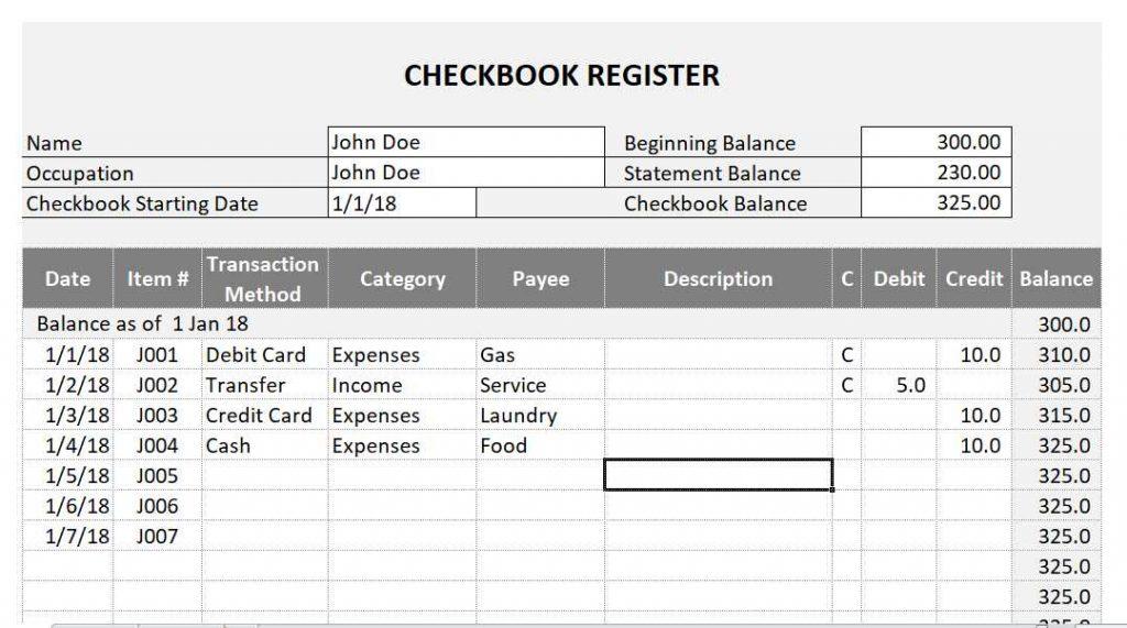 Checkbook Register Spreadsheet - ETORG