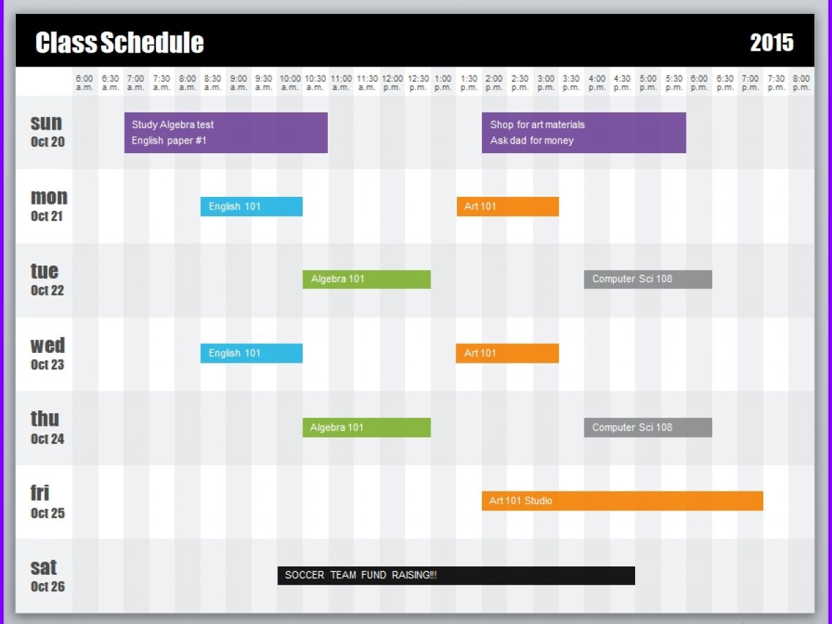 Weekly Class Schedule Template Exceltemplates Org