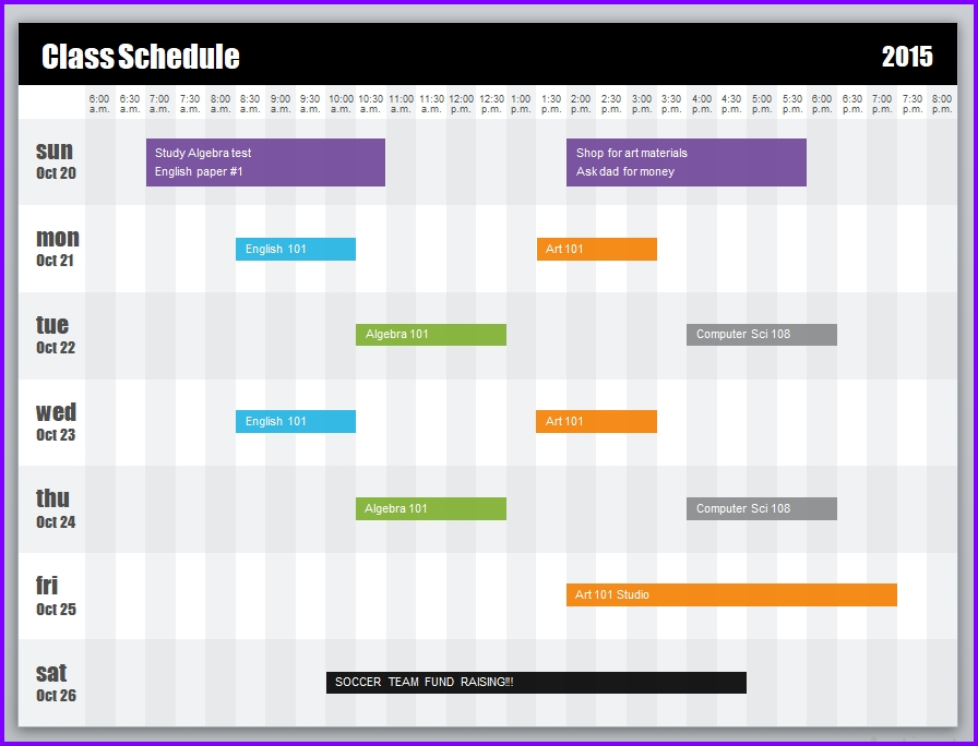 Weekly Class Schedule Template Excel Templates Excel Spreadsheets