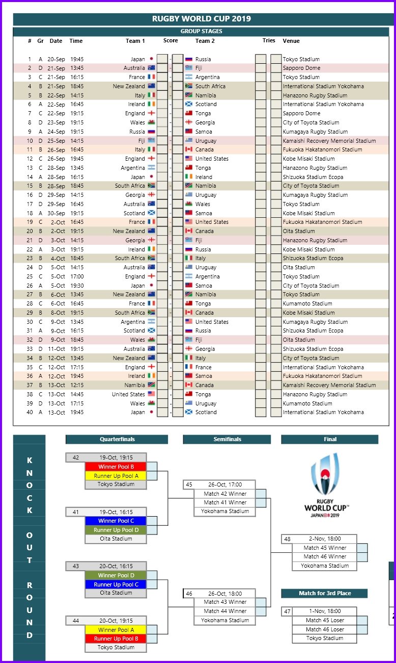 Exceltemplates.org - 2019 Rugby World Cup Schedule