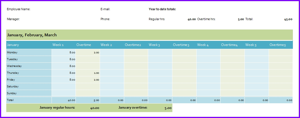 Hourly Attendance Planner And Tracker Excel Templates Excel