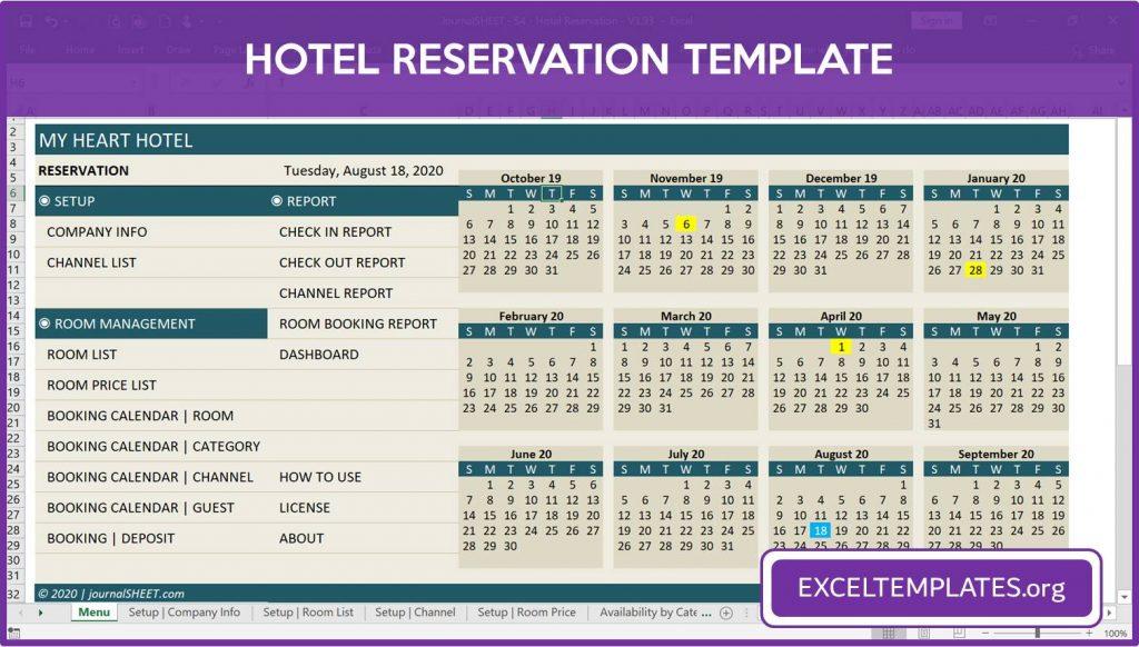 Hotel Reservation Template - Menu and Calendar
