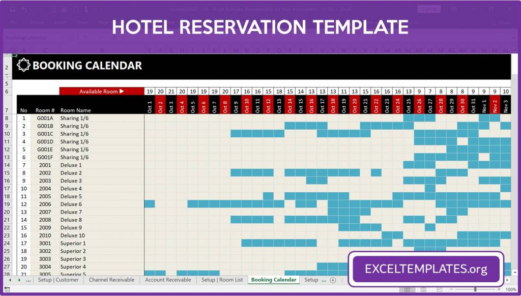 Hotel Reservation Template - One Year Booking Calendar