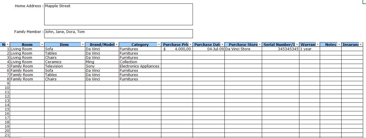 Home Inventory Template Excel Templates Excel Spreadsheets