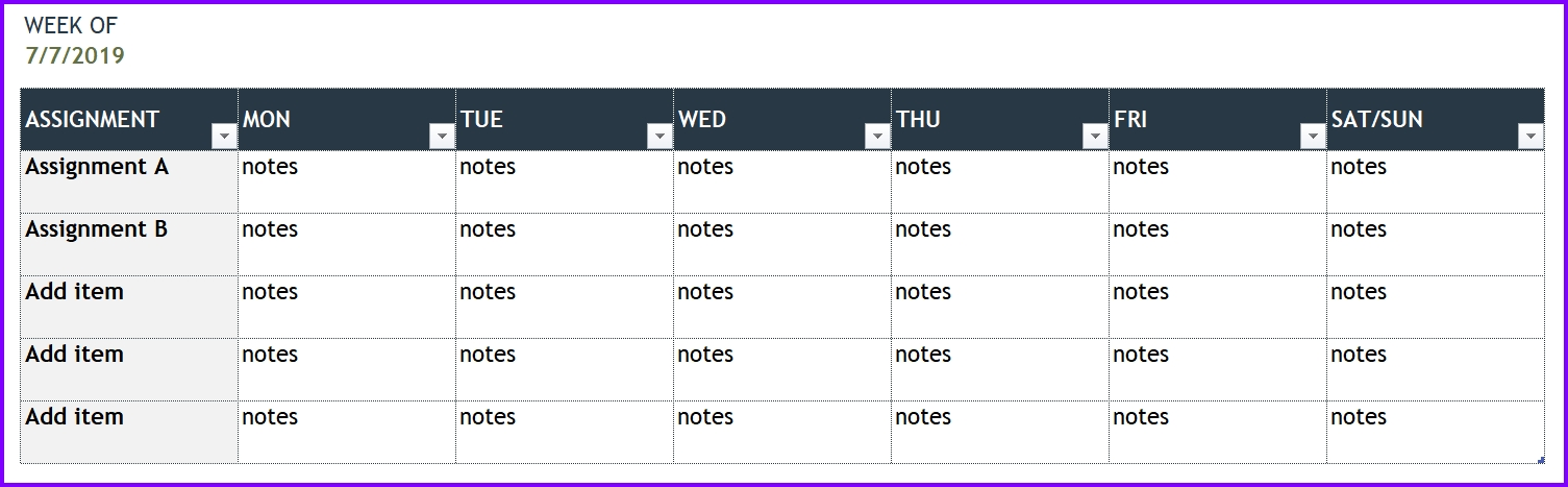 Personal Weekly Planner Template Excel Templates Excel Spreadsheets