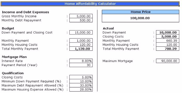 House Affordability Calculator