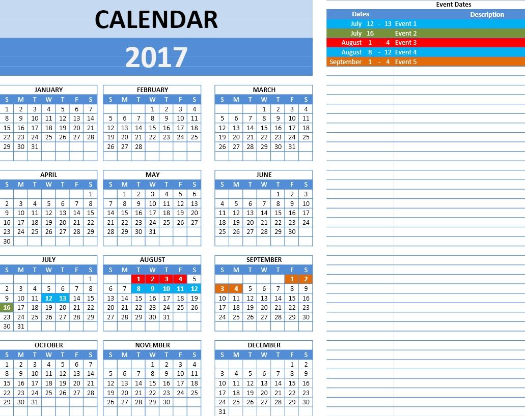 2017 Calendar Excel Template