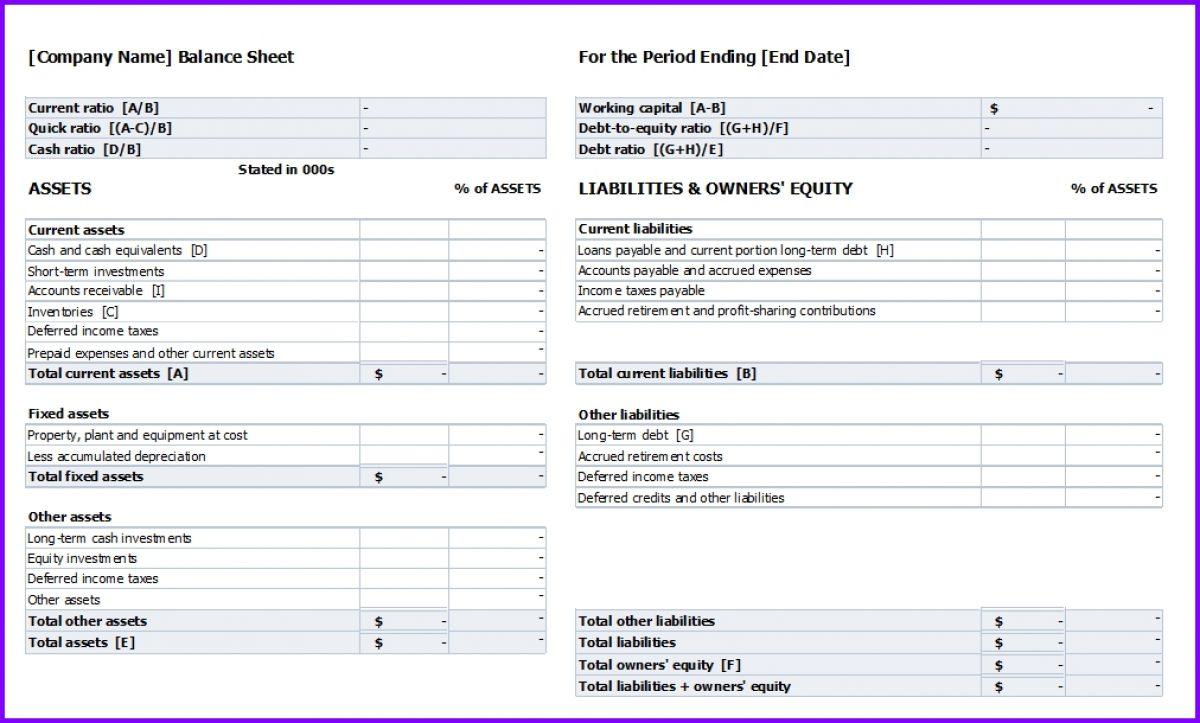 Balance Sheet Template Exceltemplates Org