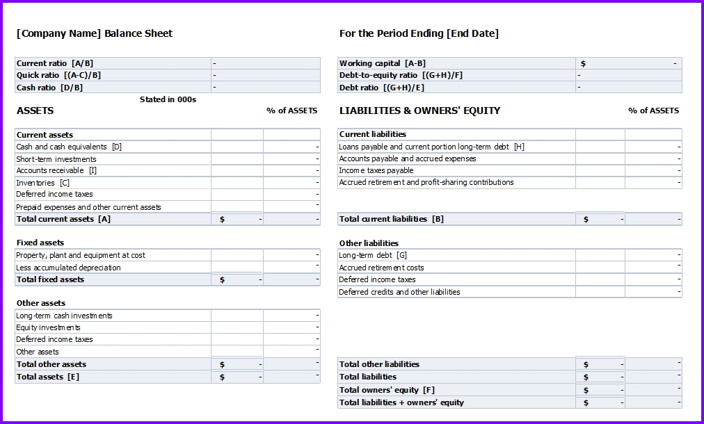 Balance Sheet Template » EXCELTEMPLATES.org