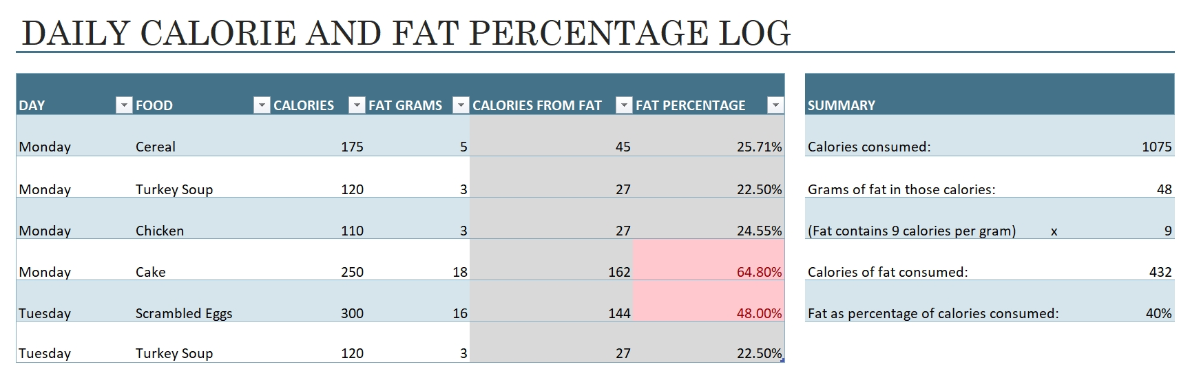 Calorie Intake Excel Template