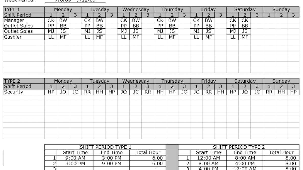 Employee Shift Schedule Template Exceltemplates Org
