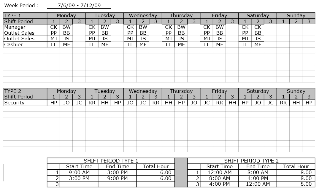 Employee Shift Schedule Excel Template