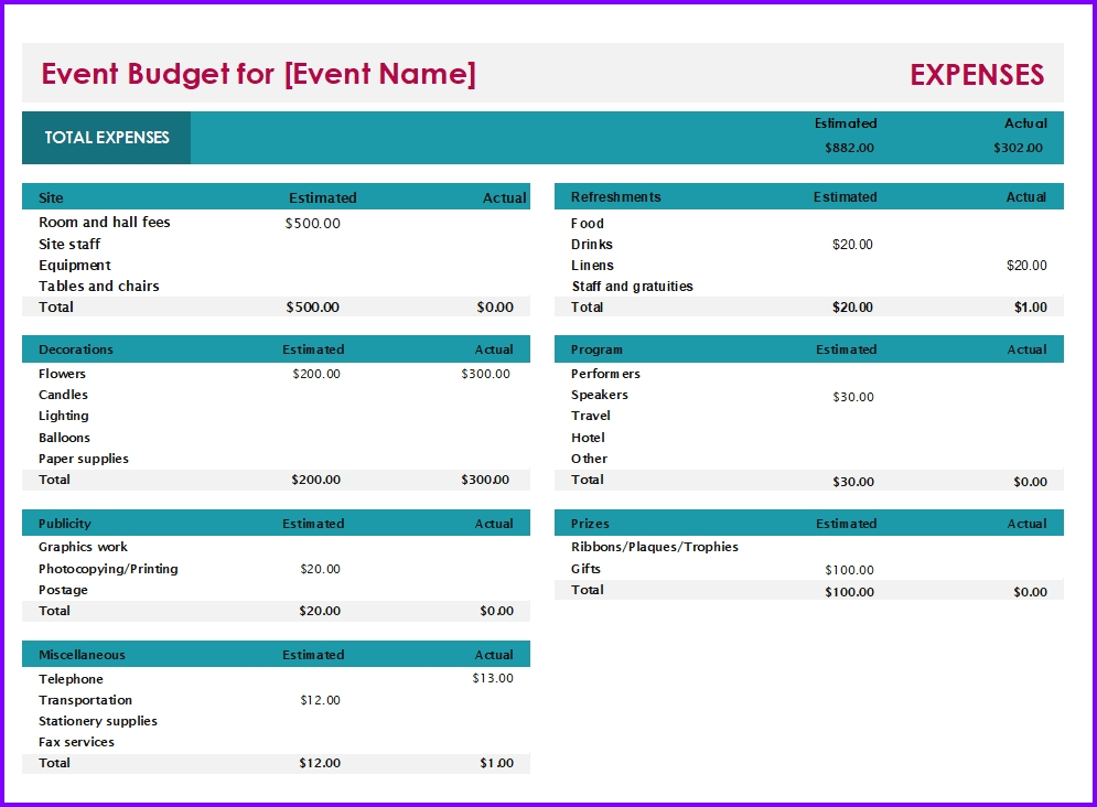 Event Budget Template Excel Templates Excel Spreadsheets