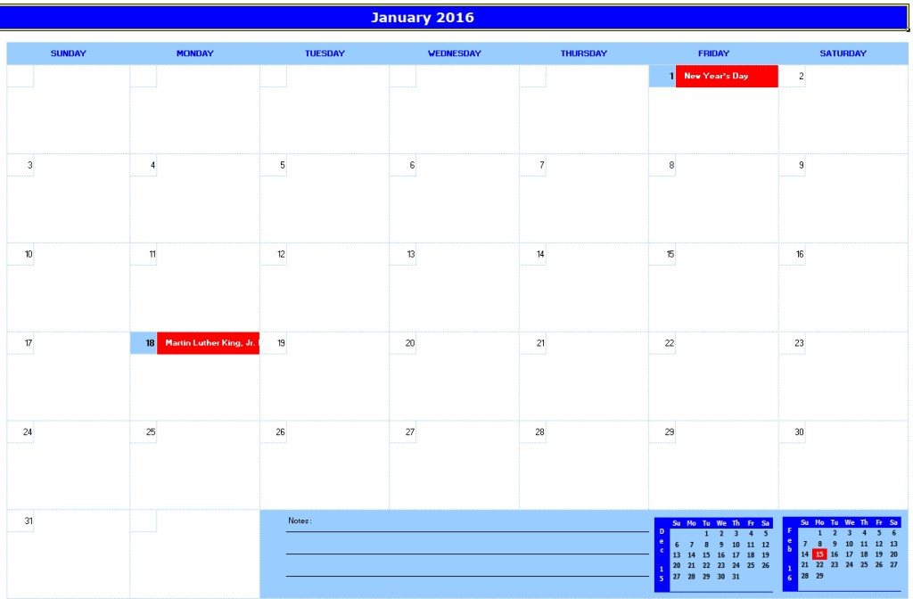 Monthly Planner Excel Template