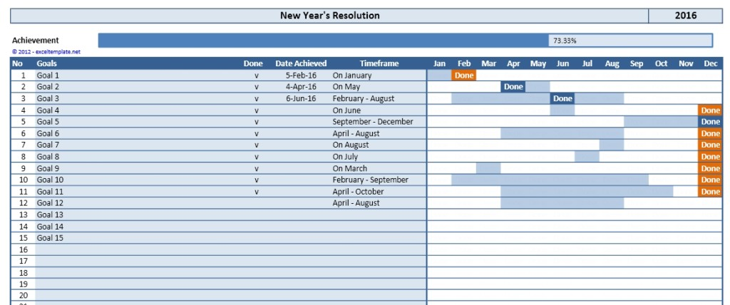 New Years Resolution Excel Template