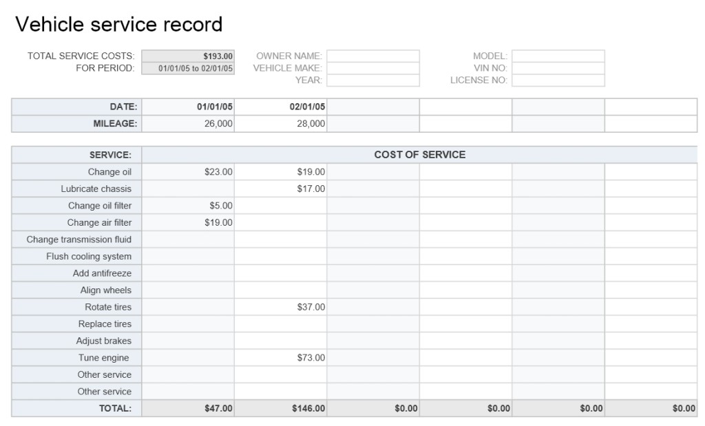 Vehicle Service Record Excel Template