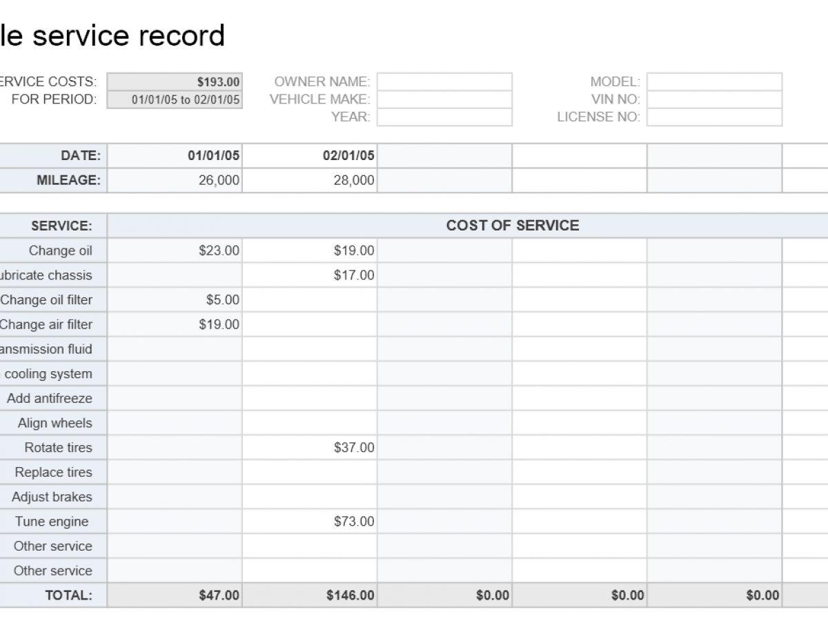 Vehicle Service Record Template Exceltemplates Org