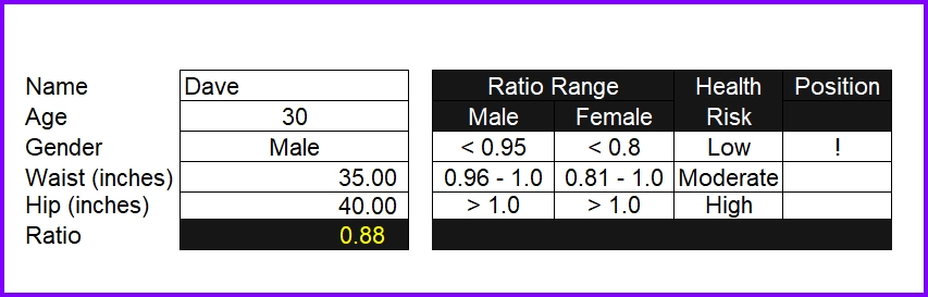 Waist to Hip Ratio Calculator Excel Template