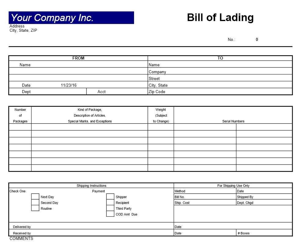 Bill of Lading Excel Template