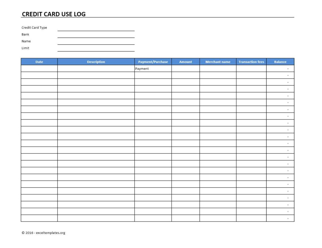 Credit Card Use Log Excel Template