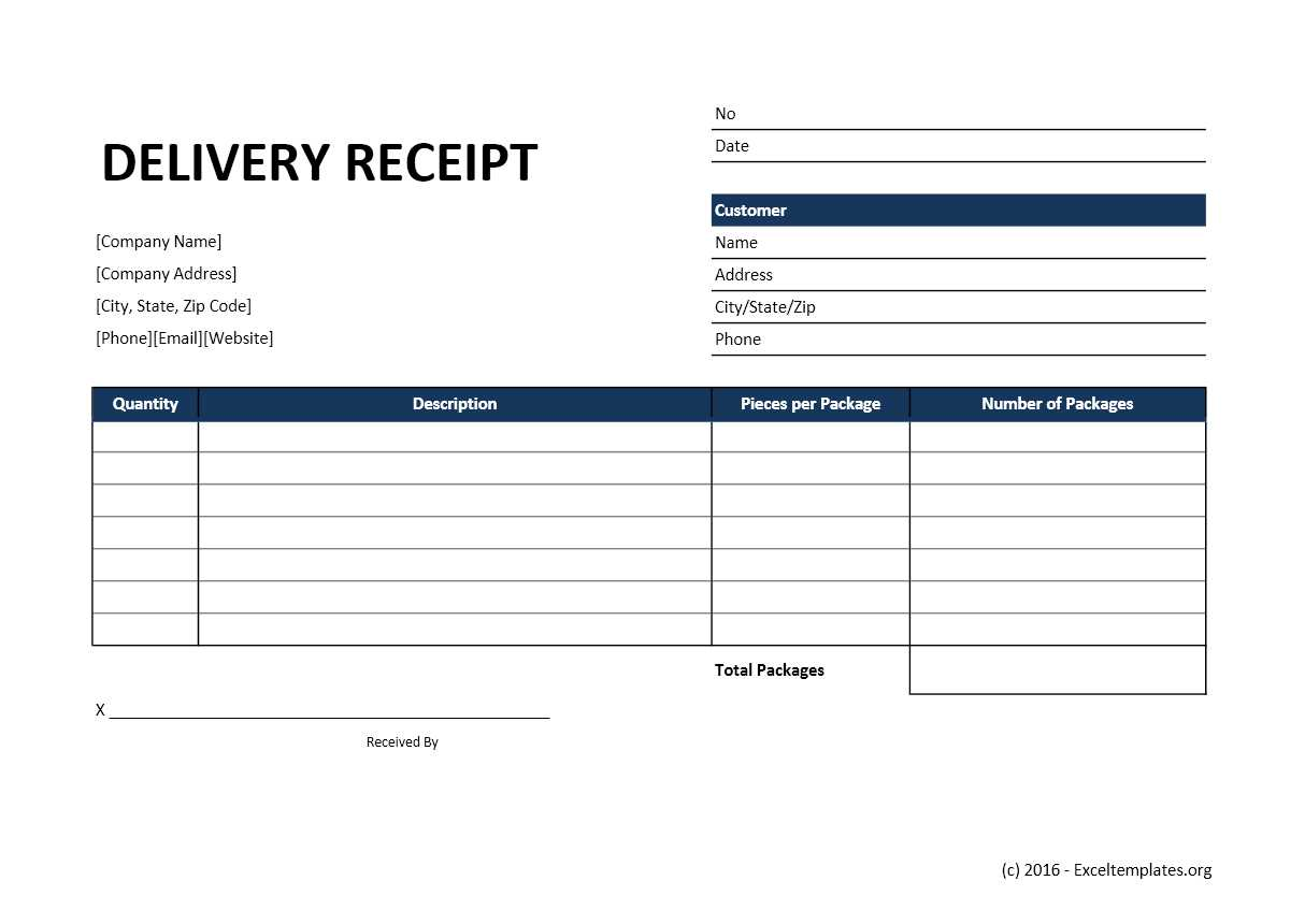 Delivery Receipt Excel Template