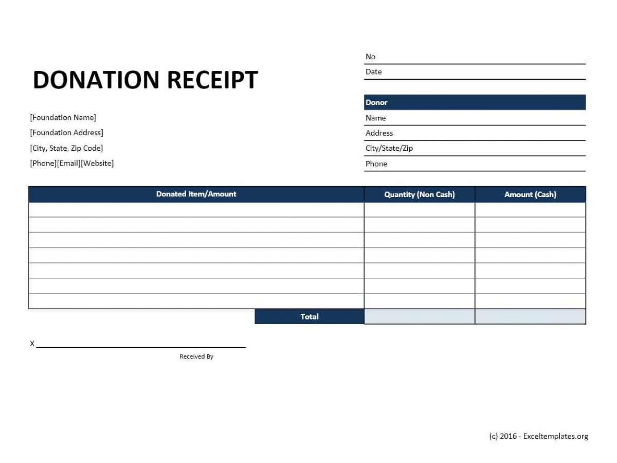 Donation Receipt Template Exceltemplates Org