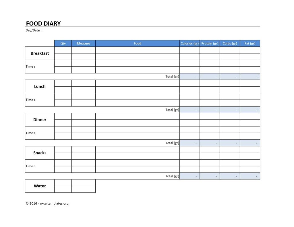 Food Diary Excel Template