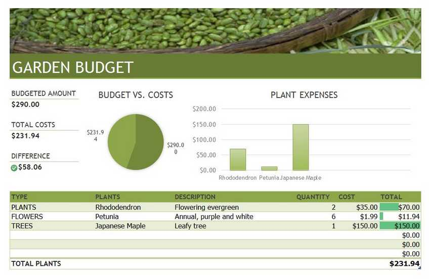 Gardening Budget Excel Template