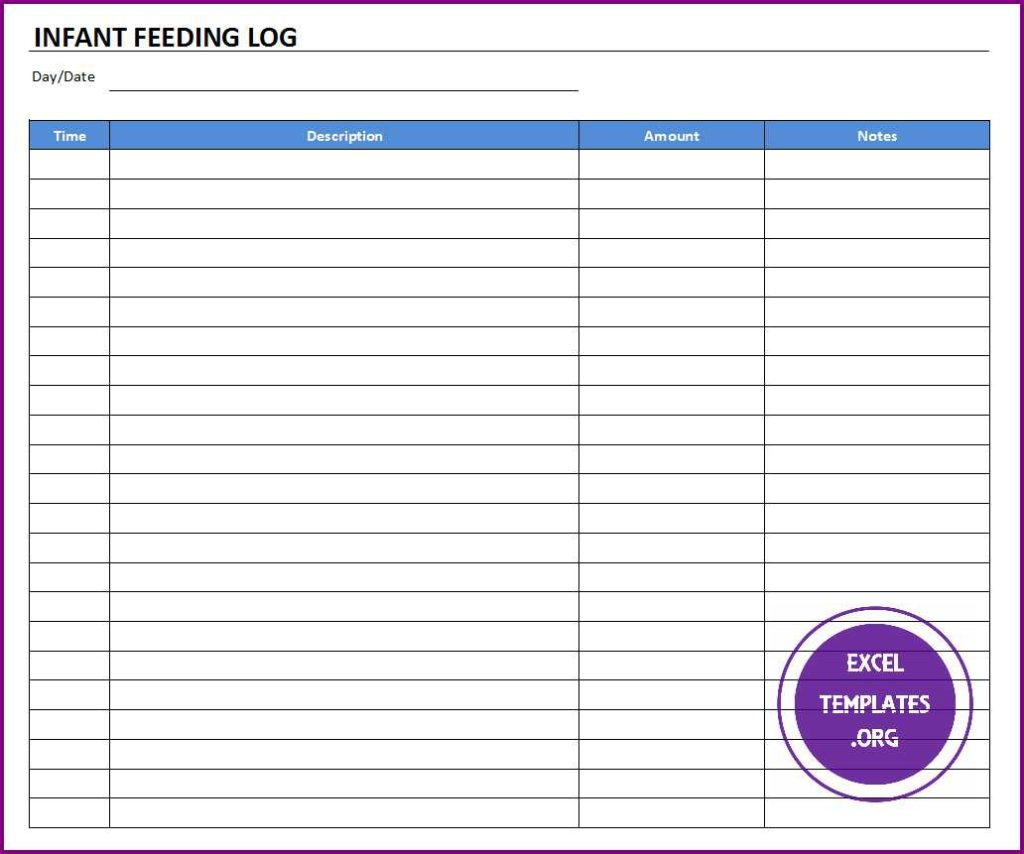 Infant Feeding Log Template