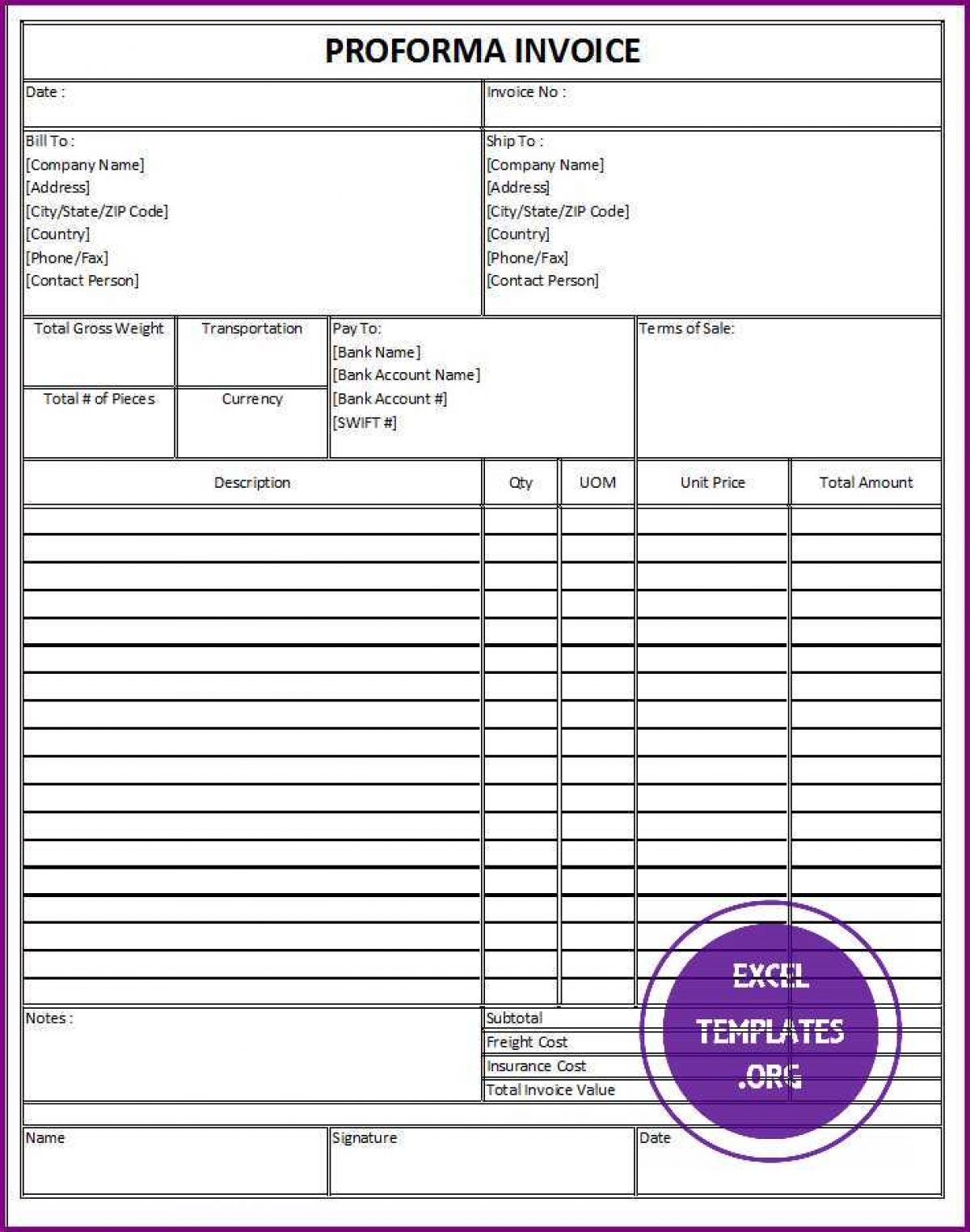 Proforma Invoice Template Exceltemplates Org