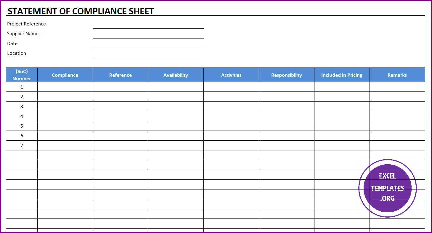Statement of Compliance Sheet Template