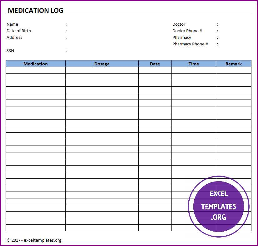 Medication log template
