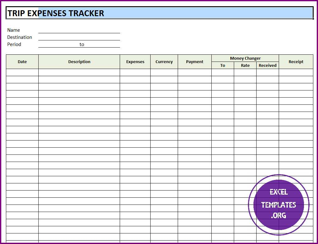 Trip Expenses Tracker Template