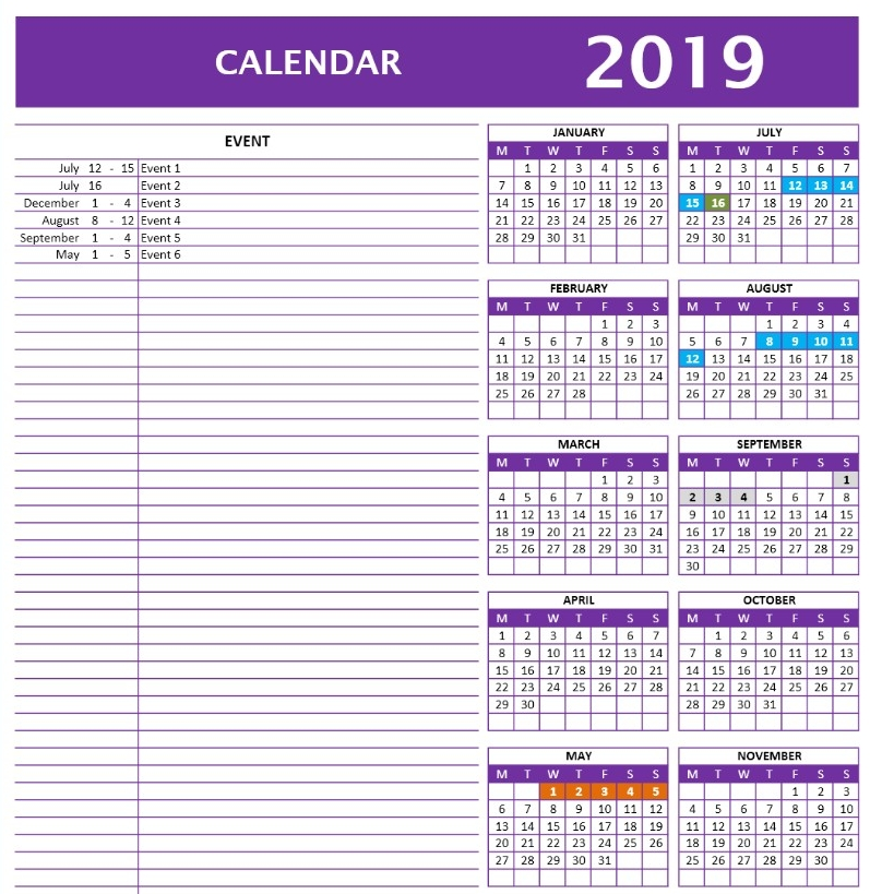 2019 Calendar Template | Excel Templates | Excel Spreadsheets