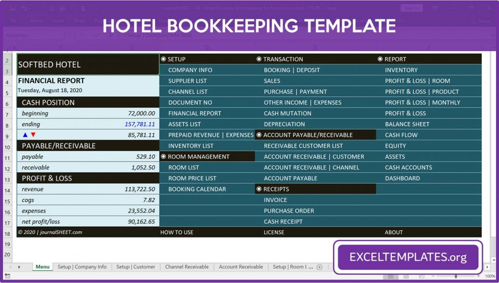 Hotel Bookkeeping Template - Front Menu