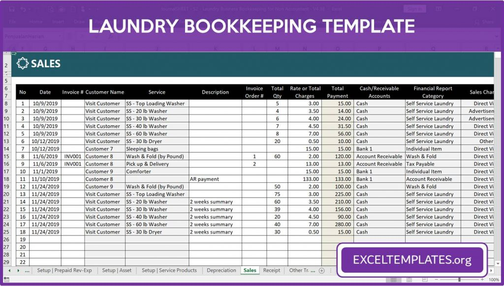 Laundry Bookkeeping Template - Sales Module