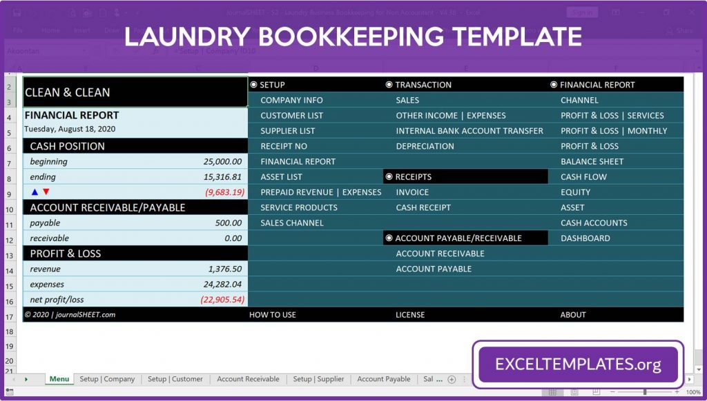 Laundry Business Bookkeeping Template for Excel